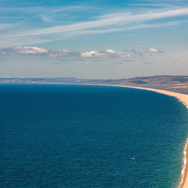 """Aerial view on Chesil Beach on Isle of Portland, UK"" stock image"