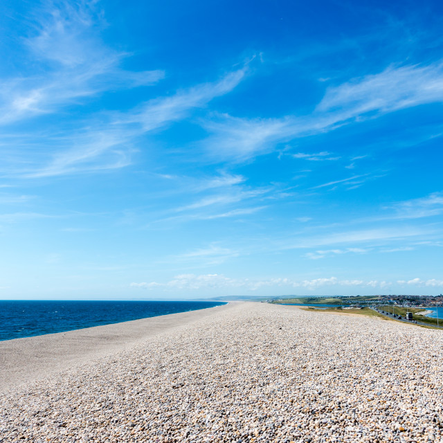 """Low angle view on Chesil Beach on Isle of Portland, UK"" stock image"