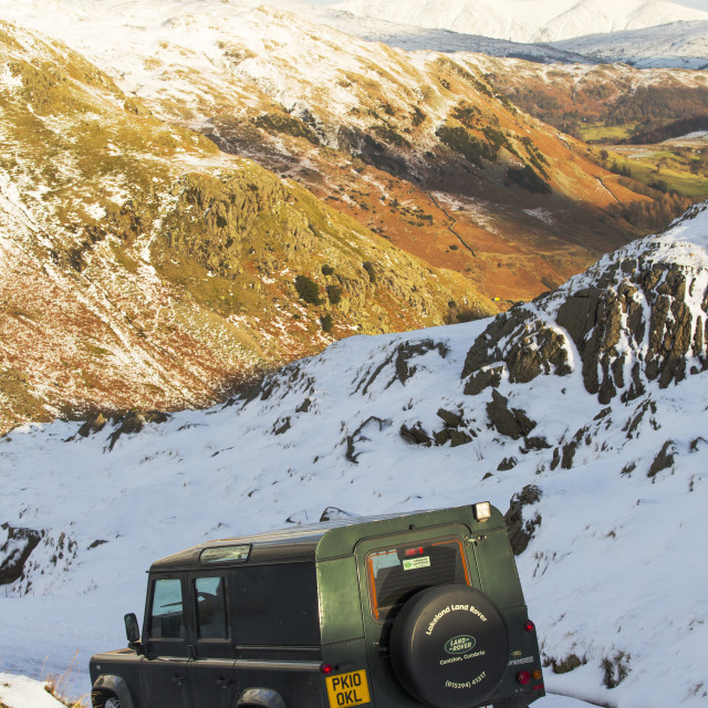 """""""A Lan Rover skidded off the road attempting to descend Wrynose Pass, closed..."""" stock image"""