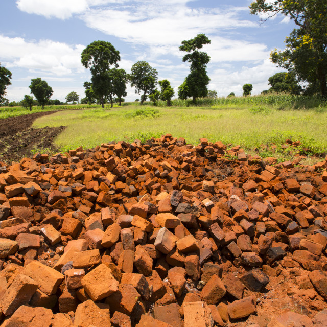 """A brick kiln near Phalombe in Malawi."" stock image"