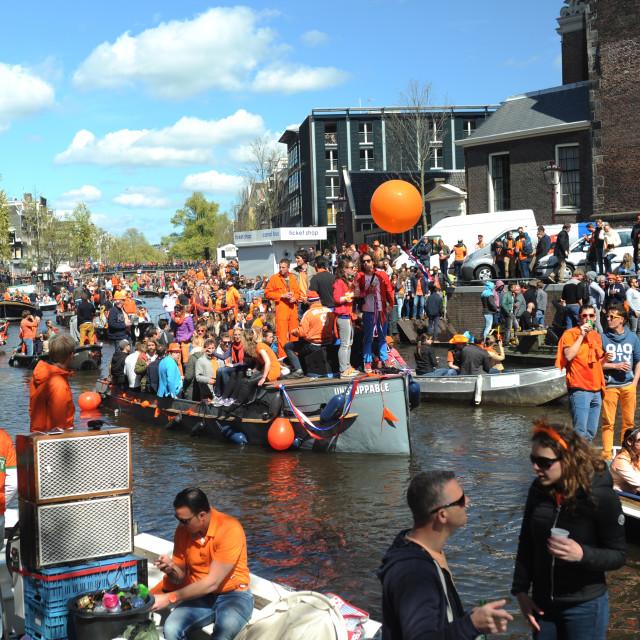 """Koningsdag/King's Day Amsterdam"" stock image"