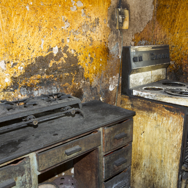 """A filthy kitchen in Zomba in Malawi, Africa."" stock image"