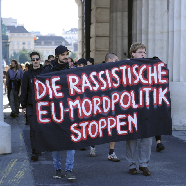 """Viennese anarchists demonstrate out of sympathy with the refugee"" stock image"