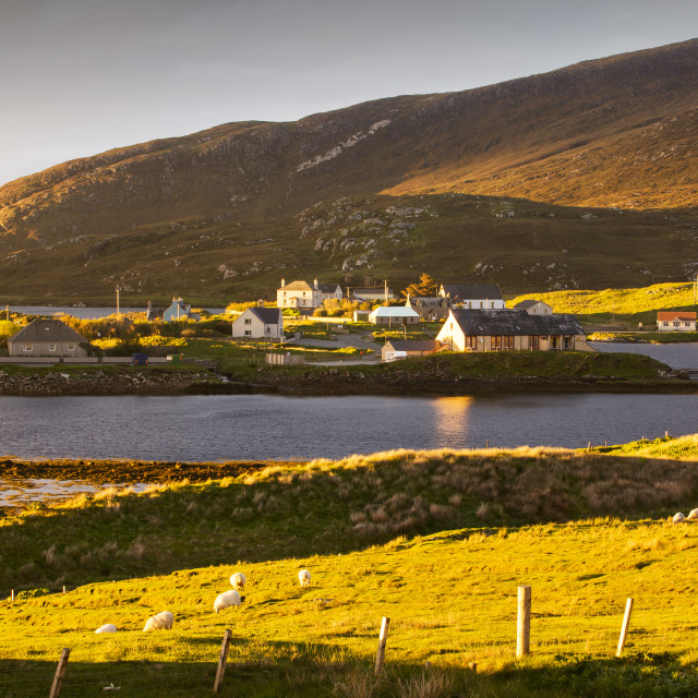 """""""Leverburgh, Isle of Harris, Outer Hebrides, Scotland, UK, in the glow of..."""" stock image"""