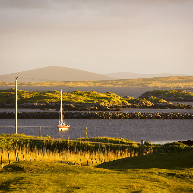 """""""Looking out towards North Uist from Leverburgh, Isle of Harris, Outer..."""" stock image"""