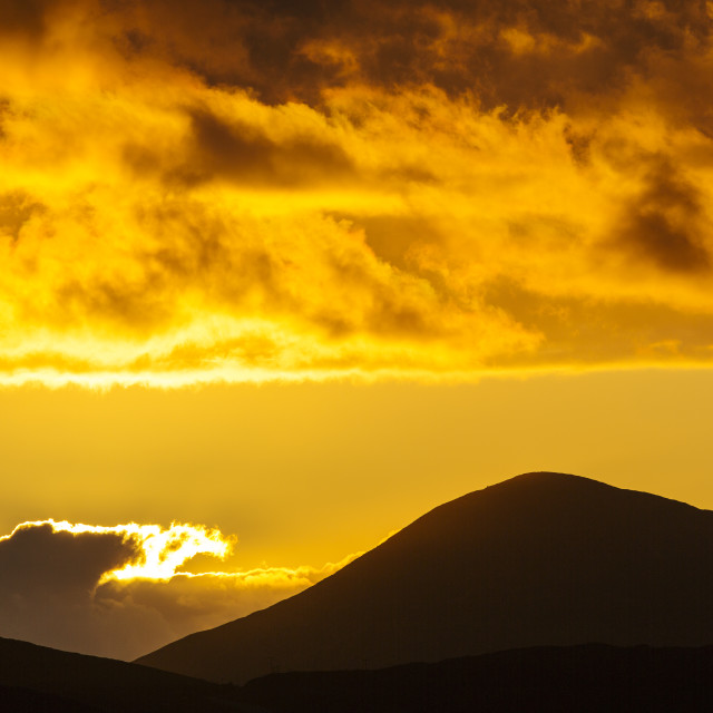 """""""Looking out towards Greabhal peak from Leverburgh, Isle of Harris, Outer..."""" stock image"""