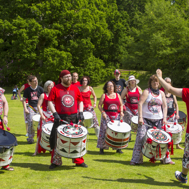 """""""A drum band in Ambleside, Cumbria, UK."""" stock image"""