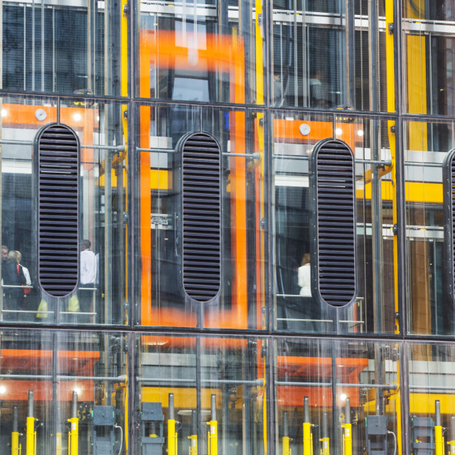 """Lifts on the outside of the new Leadenhall building in the City of London, UK."" stock image"