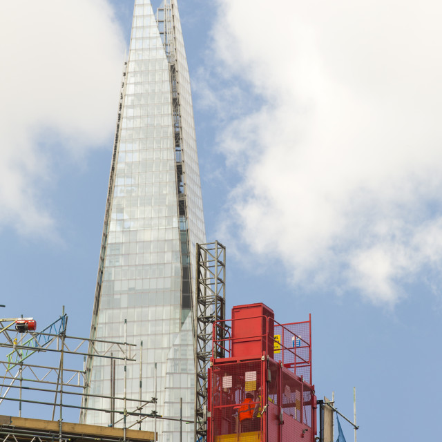 """The Shard, the tallest building in London, with building works in the..."" stock image"