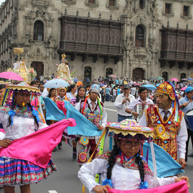 """""""Religious procession in Lima"""" stock image"""