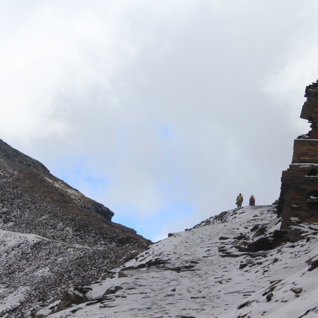 """Bolivians climb Chacaltaya"" stock image"