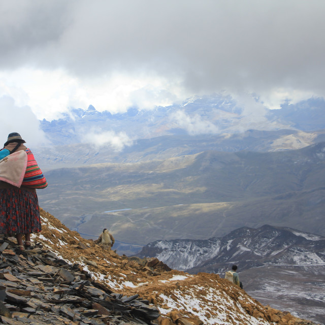 """""""Bolivian women carries her son on Chacaltaya"""" stock image"""