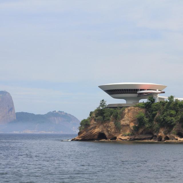"""Oscar Niemeyer's Modern Art Gallery in Niteroi"" stock image"