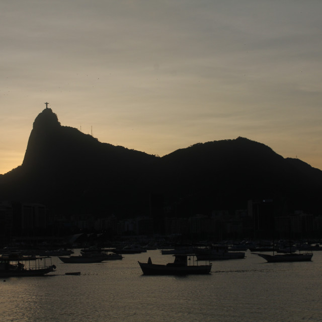 """""""Sunset behind Christ the Redeemer"""" stock image"""