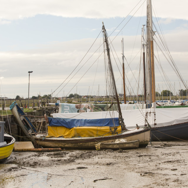 """""""Traditional wooden Smack fishing boats in Brightlingsea, Essex, UK."""" stock image"""