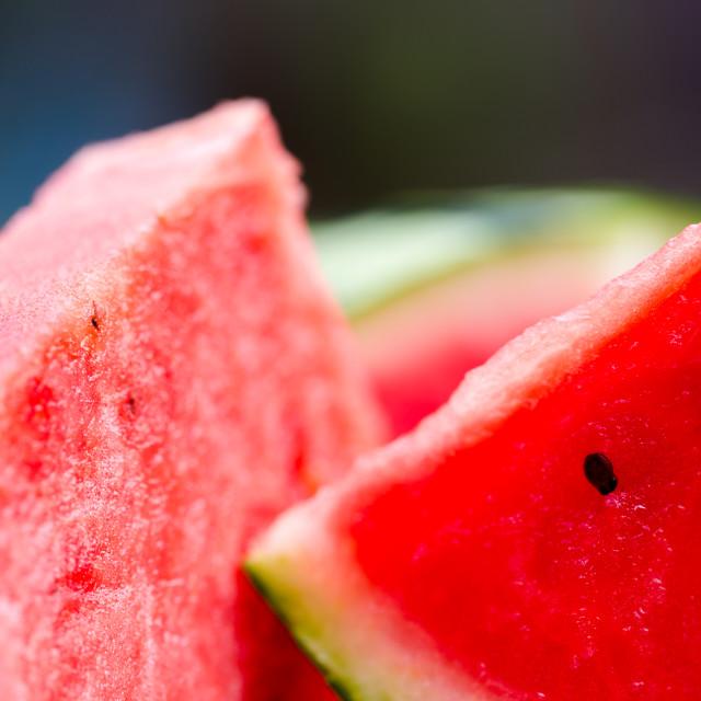 """Viibrant red watermelon slice close up"" stock image"