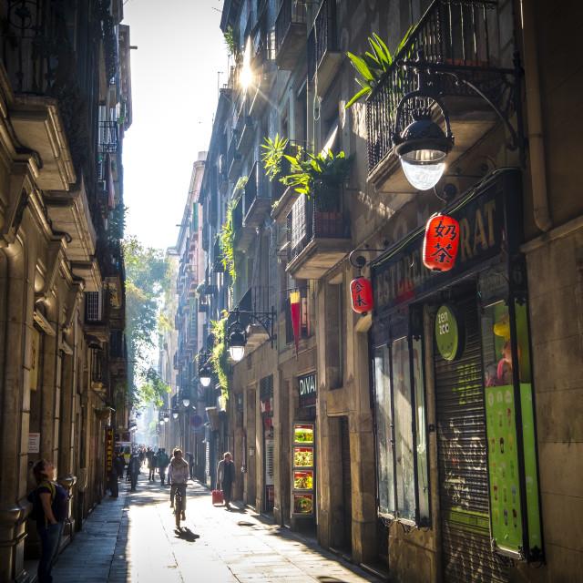 """""""Street in Raval in Ciutat Vella district in Barcelona"""" stock image"""