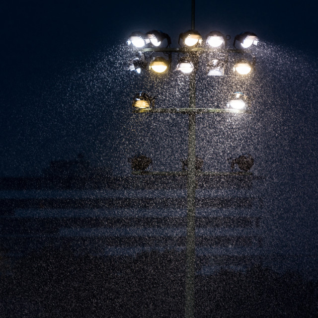 """Floodlights in Rain"" stock image"