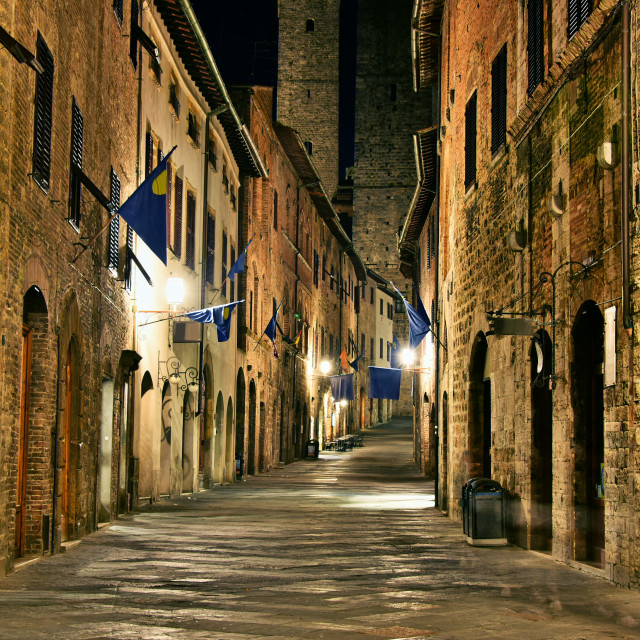 """""""Street view of San Gimignano in Tuscany, Italy by night"""" stock image"""