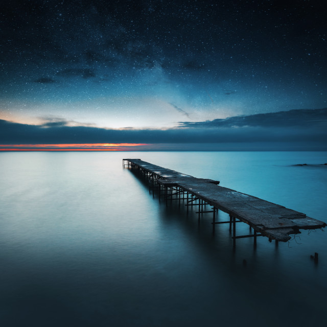"""""""Old broken bridge in the sea, long exposure"""" stock image"""