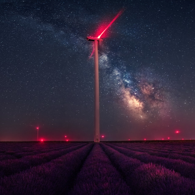 """""""Milky Way over lavender fields,"""" stock image"""