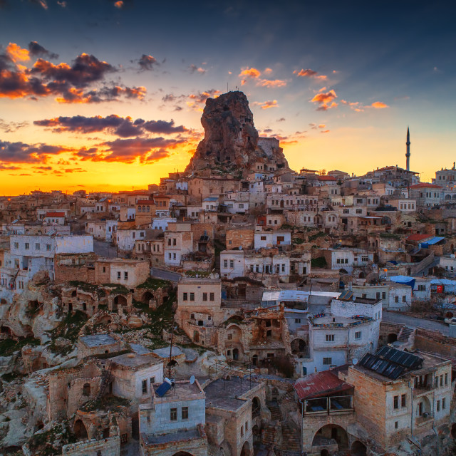"""""""Aerial view of Uchisar castle in the sunset. Cappadocia. Nevsehi"""" stock image"""