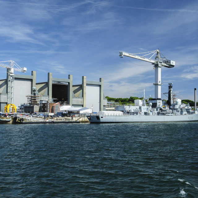 """Devonport Dockyard from the Torpoint Ferry"" stock image"