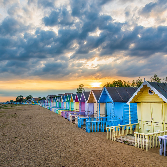 """Mersea Island Coloured beach Huts"" stock image"