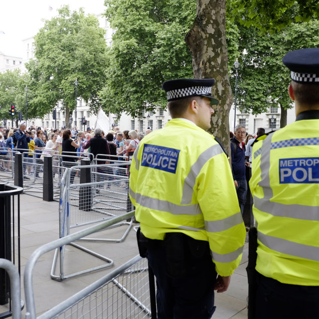 """""""Protesters at Downing Street in Not One Day More"""" stock image"""