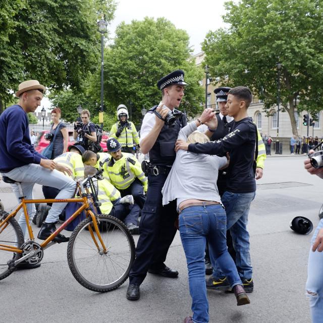 """Protester resisting arrest by London Metropolitan Police"" stock image"