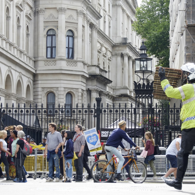 """""""Protesters gathers at Downing Street"""" stock image"""