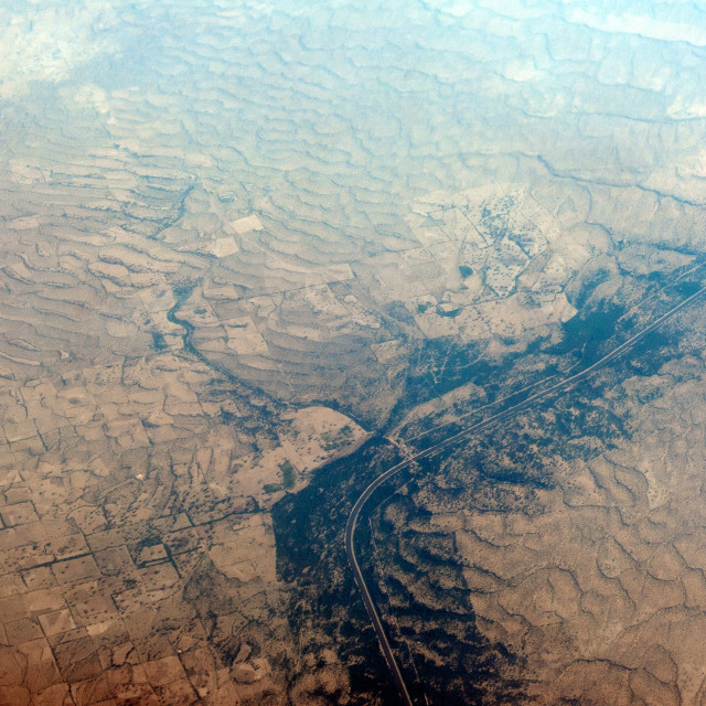 """India Aerial Photo nr Bikampur Rajastan India Indira Gandhi Water Irirgation project running through the Thar Desert."" stock image"