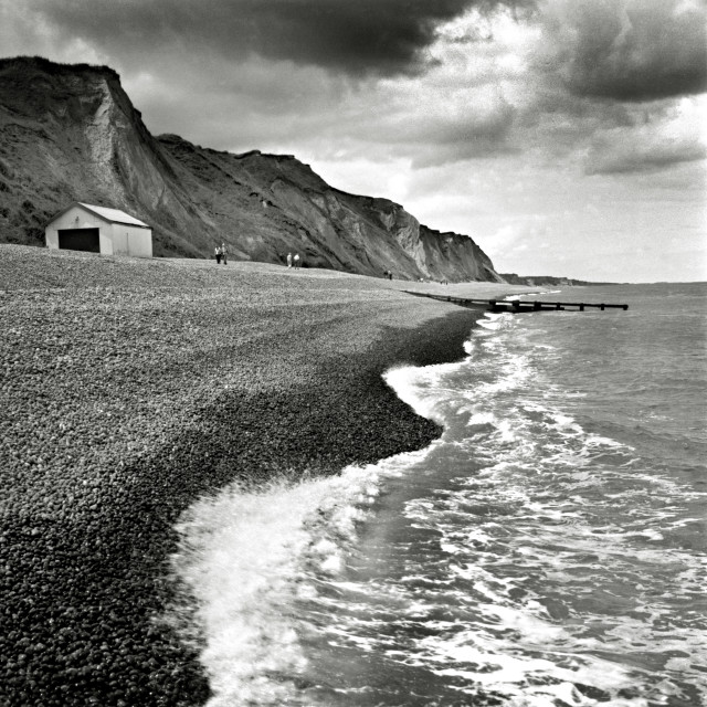 """Pebble beach near Sheringham, Norfolk"" stock image"