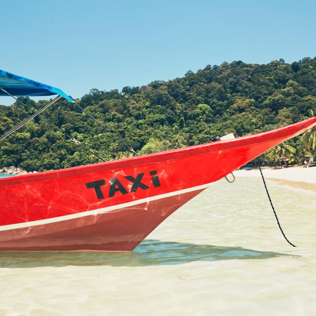 """Boat taxi on the tropical beach. Perhetian islands, Malaysia"" stock image"