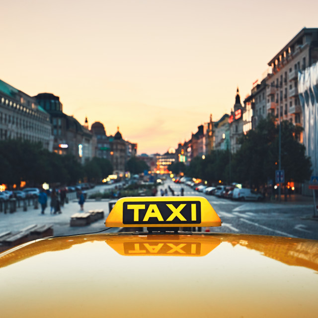 """Taxi car on the city street"" stock image"