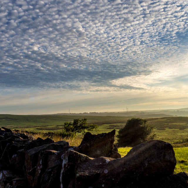 """Dawn over Gelligaer Common, Caerphilly, Wales"" stock image"