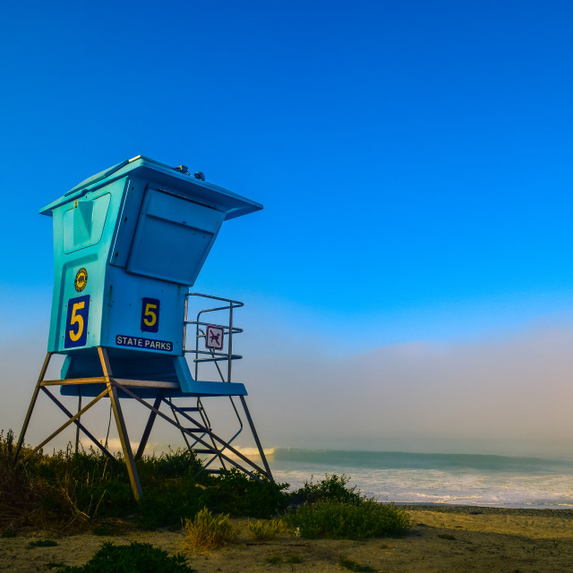 """Lifeguard Tower and fog"" stock image"
