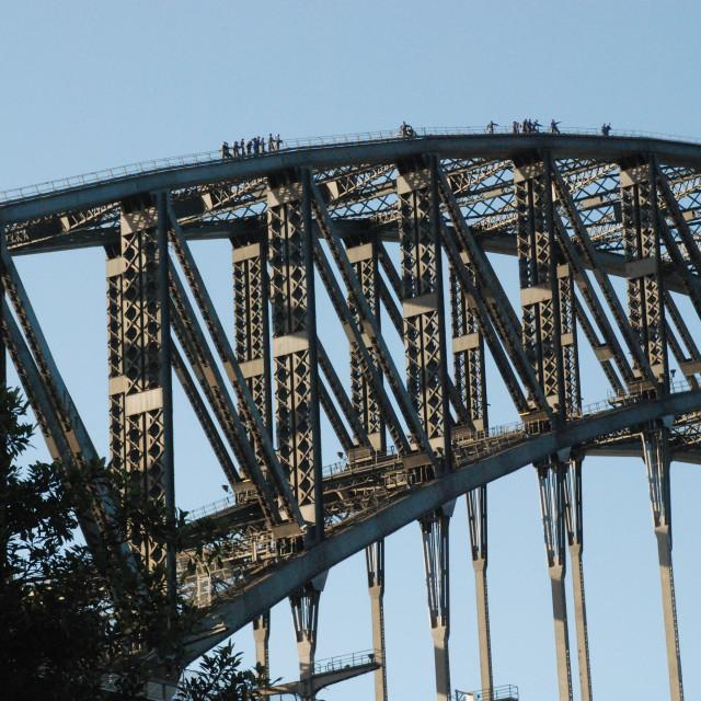 """Climbing the Bridge"" stock image"