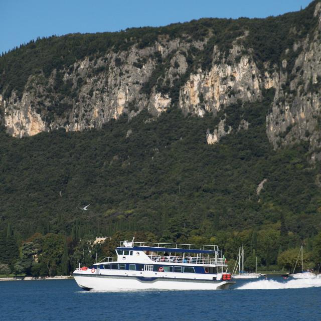 """Hydrofoil on Lake Garda"" stock image"