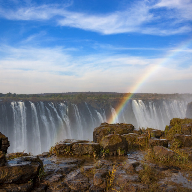 """The Rainbow Falls in Victoria Falls, Zimbabwe, Africa; Concept for travel in Africa"" stock image"