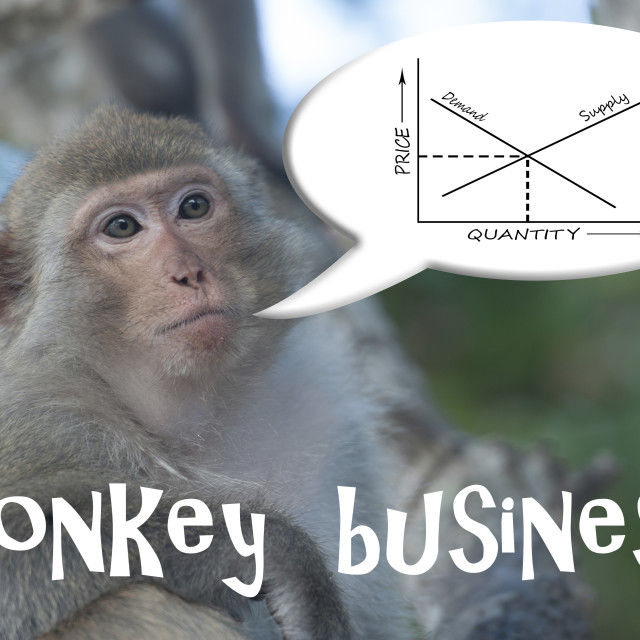 """""""Macaque ape with speech bubble with a supply and demand graph. Monkey business."""" stock image"""