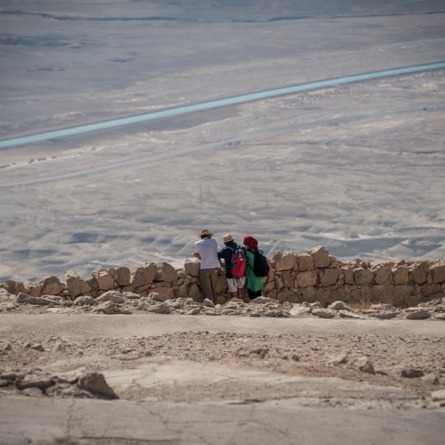 """""""Tourists at Masada Israel"""" stock image"""