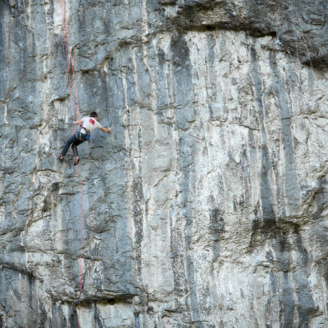 """Rock Climber - Malham Cove"" stock image"