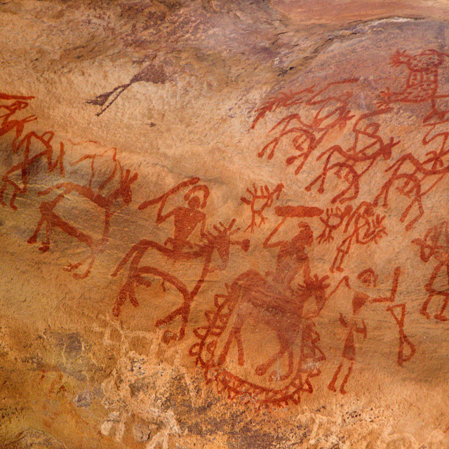 """Primitive Art on Cave Wall"" stock image"