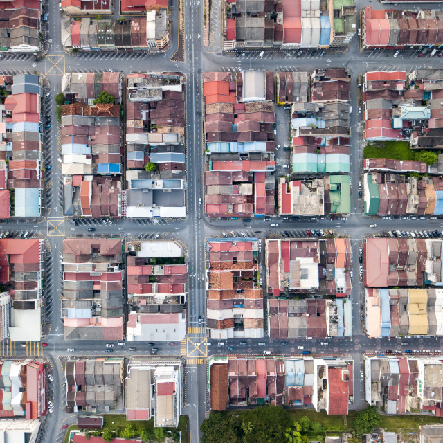 """Aerial Photo - Bird's eye view roof of houses and shoplots, and road..."" stock image"
