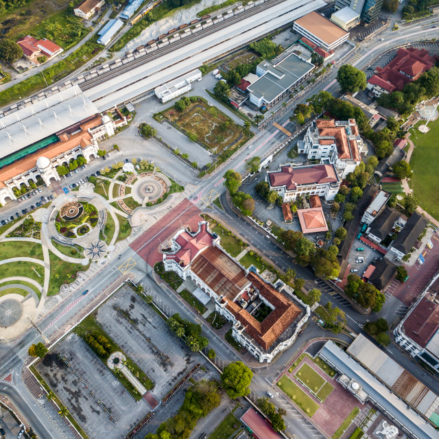 """Aerial Photo - Bird's eye view of Ipoh Railway Station,a Malaysian train..."" stock image"