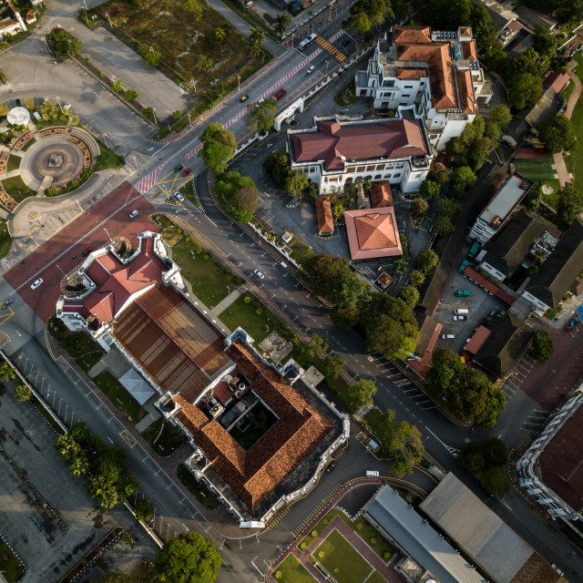 """Aerial Photo - Bird's eye view of the town of Ipoh, the capital city of the..."" stock image"