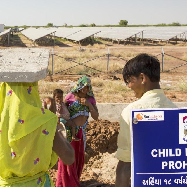 """Asia's largest solar popwer station, the Gujarat Solar Park, in Gujarat,..."" stock image"