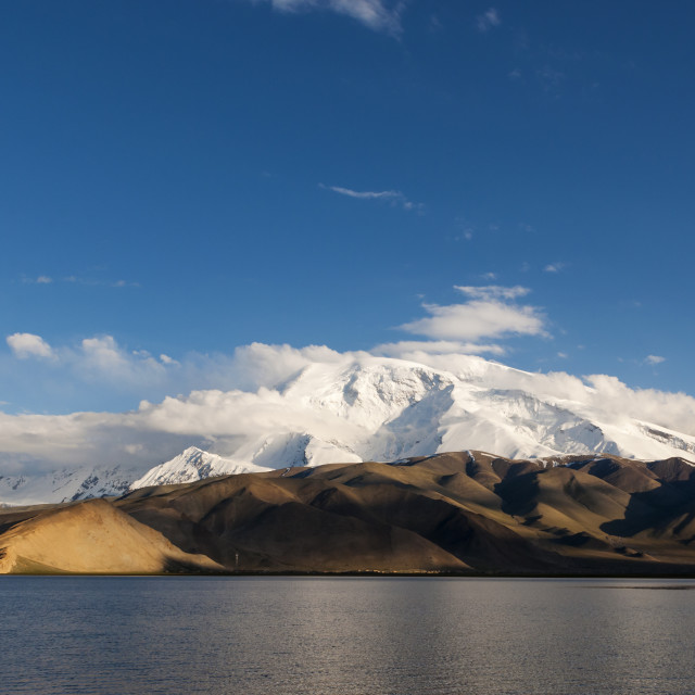 """The Karakul Lake in the province of Xinjiang in Northwestern China; Concept for travel in China"" stock image"