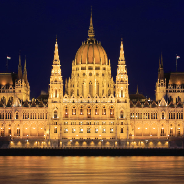 """The Hungarian Parliament Building At Dusk, river Danube, Budapest city, Hungary"" stock image"